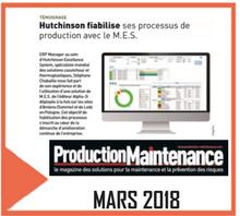 article de presse concernant Hutchinson citant CIMAG d'ALPHA-3i dans le n° de mars de production maintenance